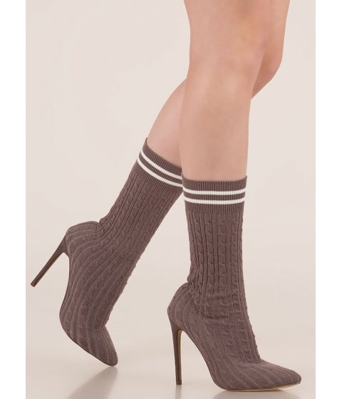 Incaltaminte Femei CheapChic Knits A Hit Pointy Sock Booties Grey