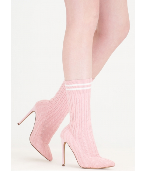 Incaltaminte Femei CheapChic Knits A Hit Pointy Sock Booties Pink