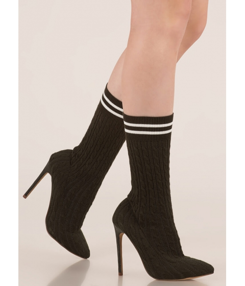 Incaltaminte Femei CheapChic Knits A Hit Pointy Sock Booties Olive