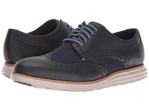 Incaltaminte Barbati Cole Haan Original Grand Wing Oxford Dark Night LeatherBlue PlaidCobblestone