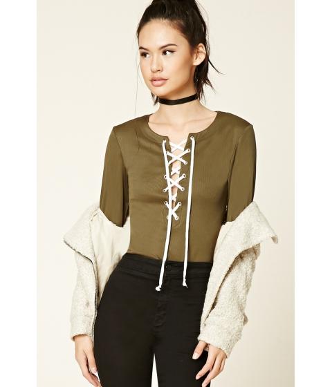 Imbracaminte Femei Forever21 Plunging Lace-Up Bodysuit Olivecream