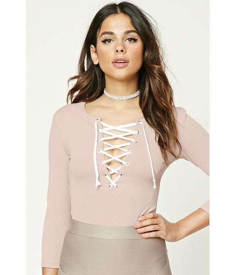 Imbracaminte Femei Forever21 Plunging Lace-Up Bodysuit Blushcream