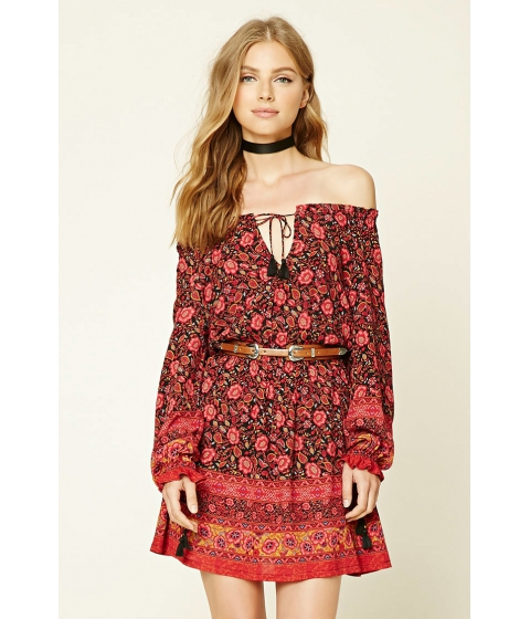 Imbracaminte Femei Forever21 Floral Self-Tie Peasant Dress Blackred