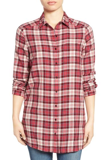 Imbracaminte Femei Caslon Plaid Tunic Shirt RED CRINKLE PLAID