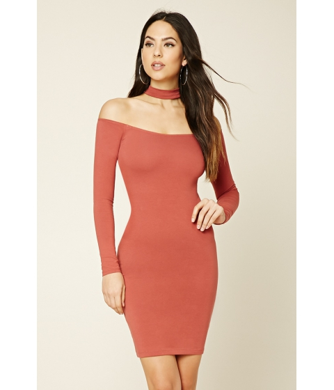Imbracaminte Femei Forever21 Choker Neck Bodycon Dress Hibiscus
