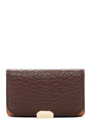 Genti Femei Lodis Accessories Borrego Mini Leather Card Case DARK BROWN