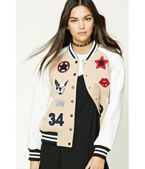 Imbracaminte Femei Forever21 Fleece Varsity Patch Jacket Camelcream