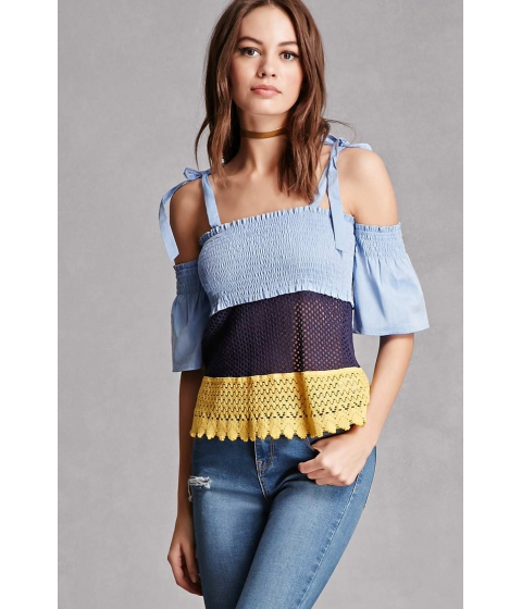 Imbracaminte Femei Forever21 Colorblock Open-Shoulder Top Denim