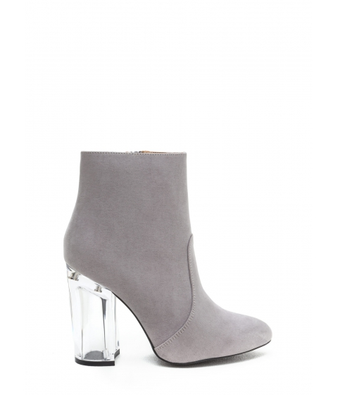 Incaltaminte Femei CheapChic Crystal Clear Chunky Faux Suede Booties Ltgrey
