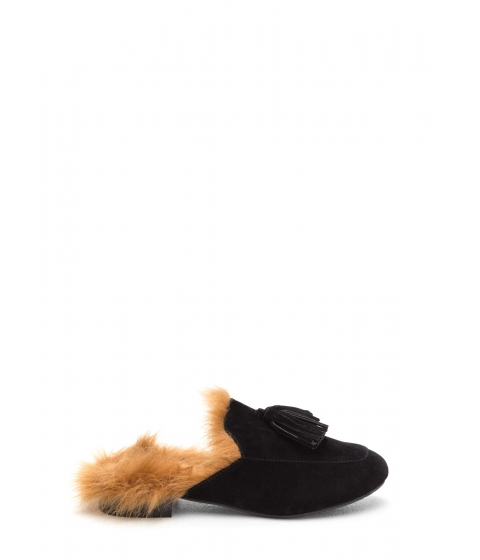 Incaltaminte Femei CheapChic Furry Up Tasseled Moccasin Mules Black