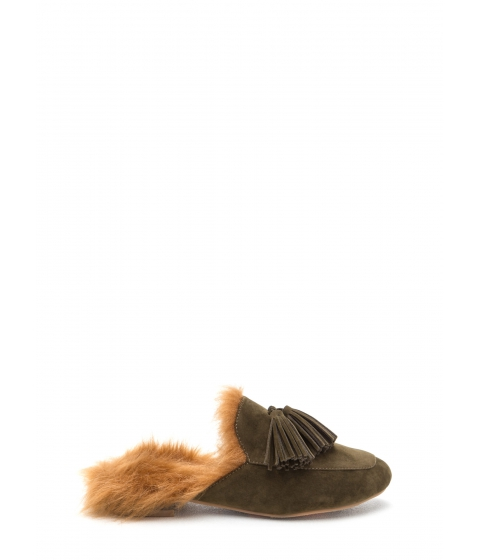 Incaltaminte Femei CheapChic Furry Up Tasseled Moccasin Mules Olive