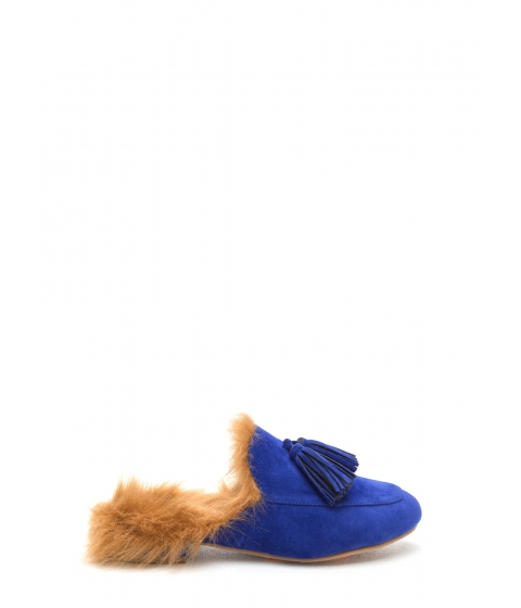 Incaltaminte Femei CheapChic Furry Up Tasseled Moccasin Mules Blue