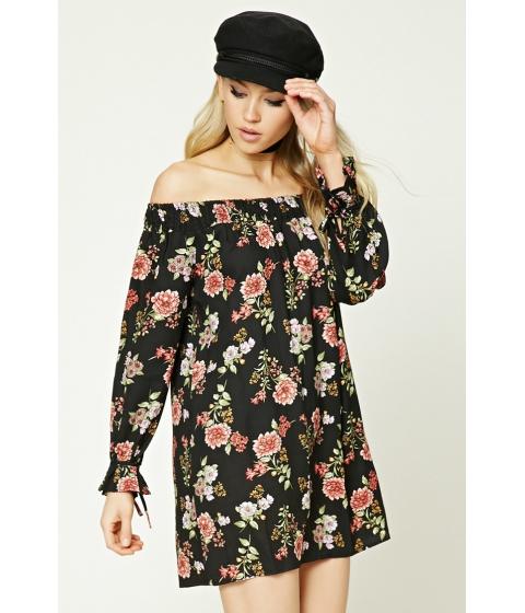 Imbracaminte Femei Forever21 Floral Off-the-Shoulder Dress Blackcoral