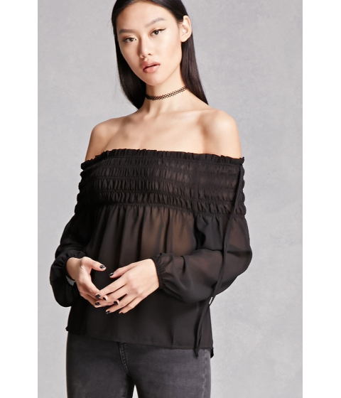Imbracaminte Femei Forever21 Smocked Off-the-Shoulder Top Black