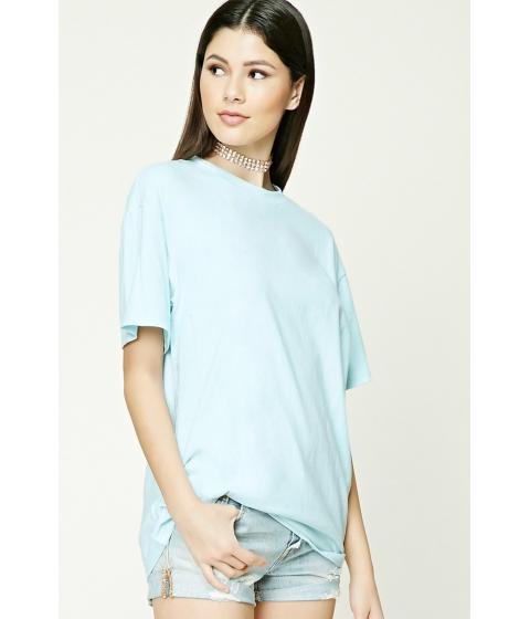 Imbracaminte Femei Forever21 Oversized Cotton Tee Sky blue