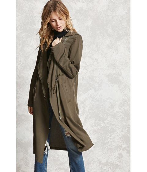 Imbracaminte Femei Forever21 Contemporary Hooded Coat Olive
