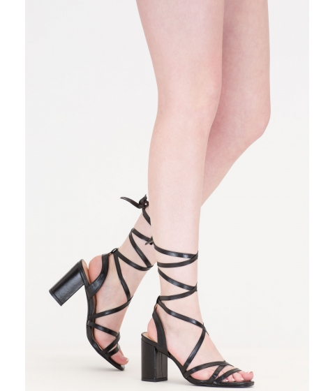 Incaltaminte Femei CheapChic Tie And Mighty Strappy Chunky Heels Black