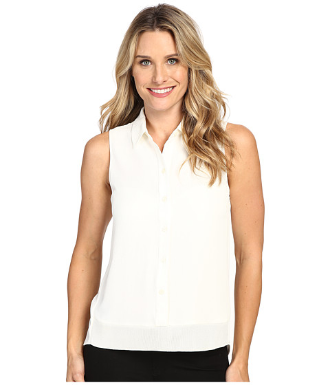 Imbracaminte Femei Michael Kors Sleeveless Button Down Tank Top w Rib Trim Cream