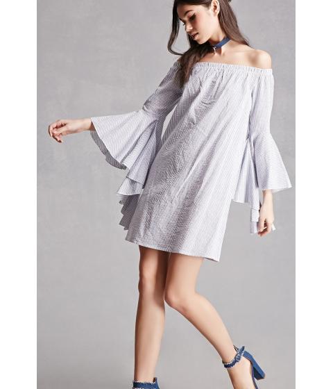 Imbracaminte Femei Forever21 Stripe Off-the-Shoulder Dress Royal