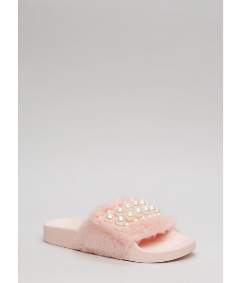 Incaltaminte Femei CheapChic Diving For Pearls Faux Fur Slide Sandals Pink