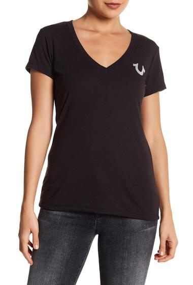Imbracaminte Femei True Religion Classic Logo Deep V-Neck Tee BLACK
