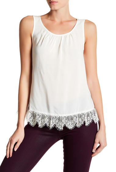 Imbracaminte Femei Velvet By Graham Spencer Lace Trim Challis Tank IVORY