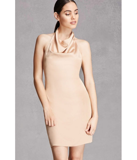Imbracaminte Femei Forever21 Satin Cowl Neck Halter Dress Tan