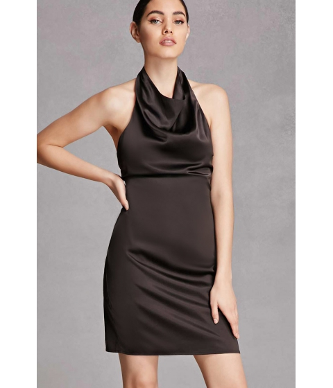 Imbracaminte Femei Forever21 Satin Cowl Neck Halter Dress Black