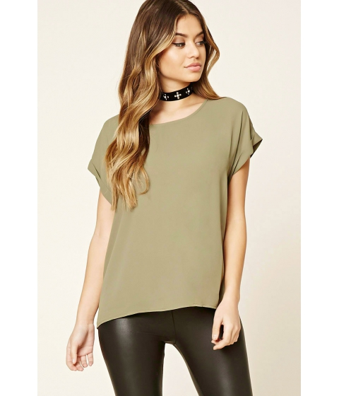 Imbracaminte Femei Forever21 Sheer Cuffed-Sleeve Top Olive