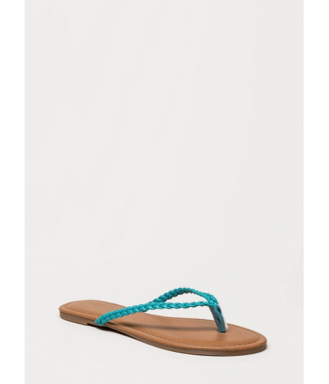 Incaltaminte Femei CheapChic First Braid Faux Leather Thong Sandals Turquoise