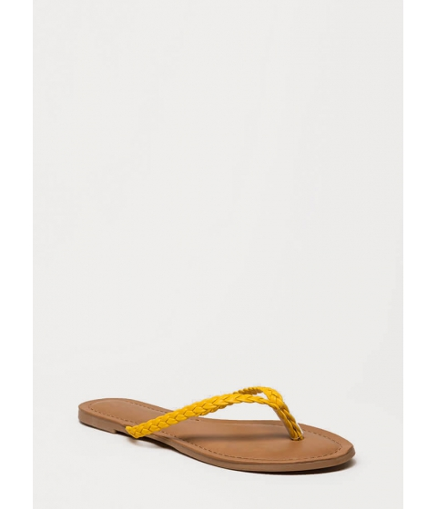 Incaltaminte Femei CheapChic First Braid Faux Leather Thong Sandals Yellow