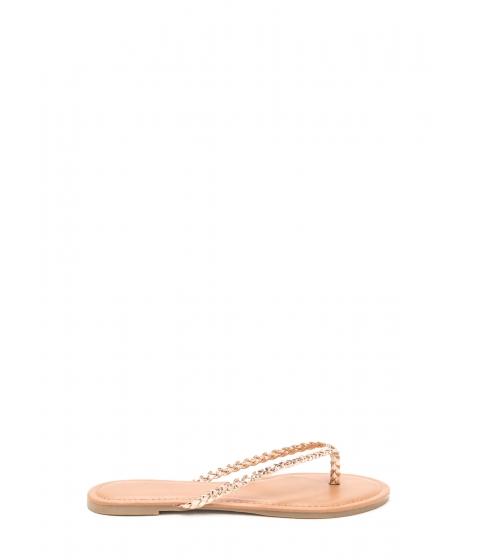Incaltaminte Femei CheapChic First Braid Metallic Thong Sandals Rosegold