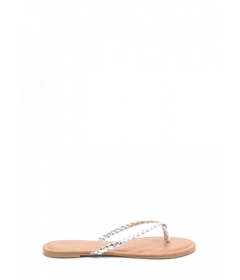 Incaltaminte Femei CheapChic First Braid Metallic Thong Sandals Silver