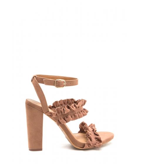 Incaltaminte Femei CheapChic Romantice Ruffles Strappy Chunky Heels Camel