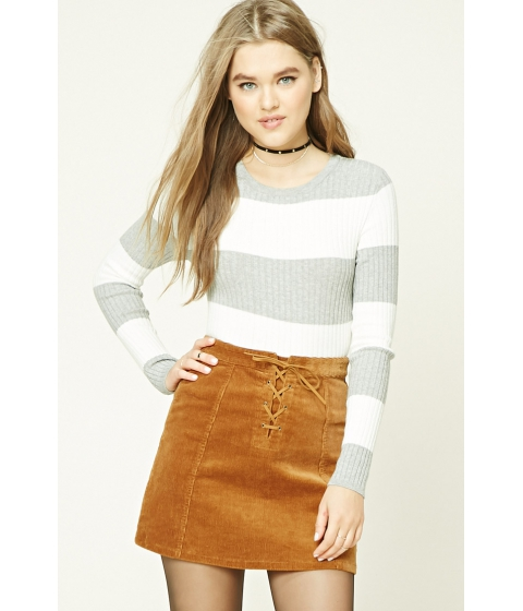 Imbracaminte Femei Forever21 Striped Ribbed Knit Top Creamgrey
