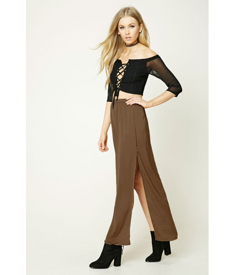 Imbracaminte Femei Forever21 Crinkled Satin Maxi Skirt Brown