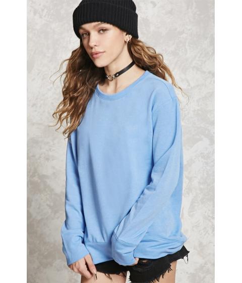 Imbracaminte Femei Forever21 High-Low Fleece Sweatshirt Blue