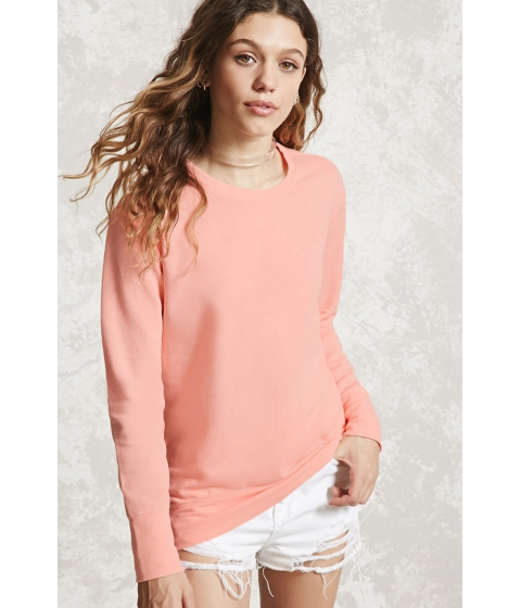 Imbracaminte Femei Forever21 High-Low Fleece Sweatshirt Salmon