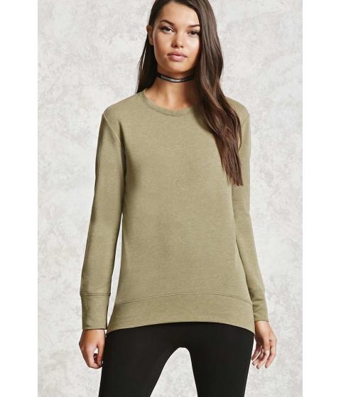 Imbracaminte Femei Forever21 High-Low Fleece Sweatshirt Olive