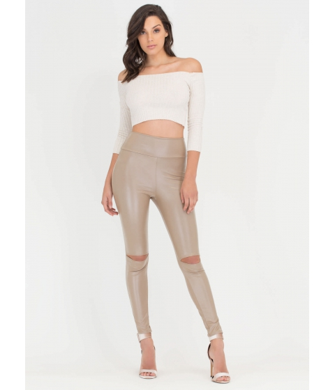 Imbracaminte Femei CheapChic Weak In The Knees Smooth Slit Leggings Mocha