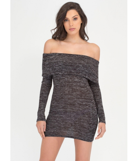 Imbracaminte Femei CheapChic Knit Us Up Off-shoulder Minidress Charcoal