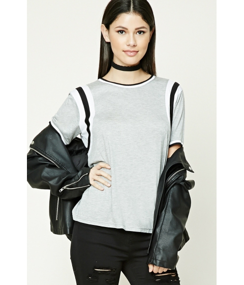 Imbracaminte Femei Forever21 Varsity Striped Dolman Top Heather greywhite