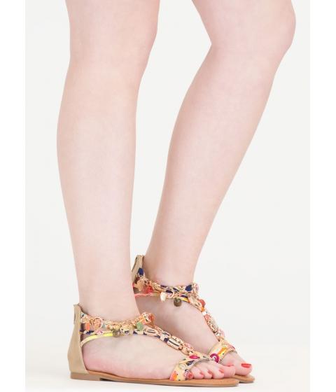 Incaltaminte Femei CheapChic Precious Stone Embellished Print Sandals Beige