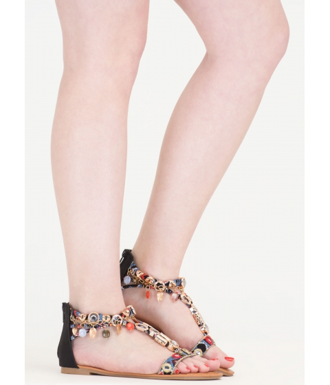 Incaltaminte Femei CheapChic Precious Stone Embellished Print Sandals Black