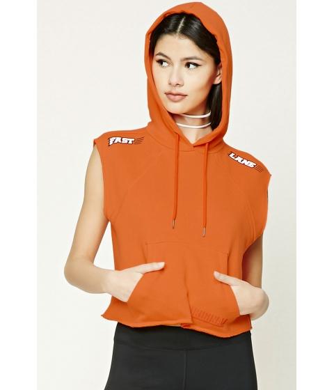 Imbracaminte Femei Forever21 Fast Lane Graphic Sleeveless Hoodie Orangeblack