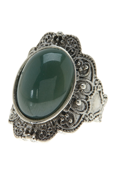 Accesorii Femei Free Press Oval Scalloped Border Ring GREEN-RHODIUM