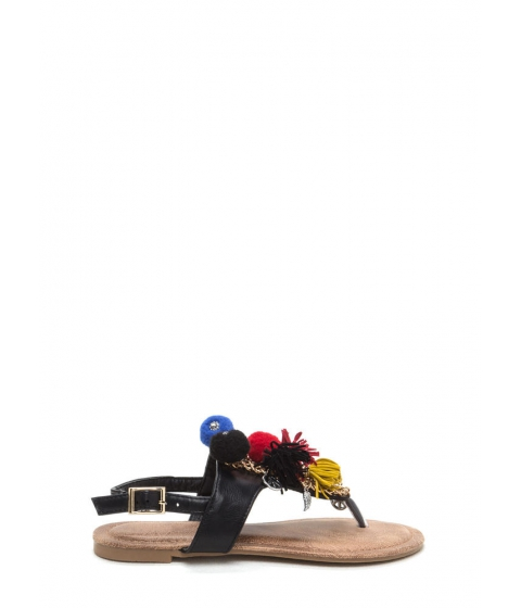 Incaltaminte Femei CheapChic By The Bay Tassel n Pom-pom Sandals Black