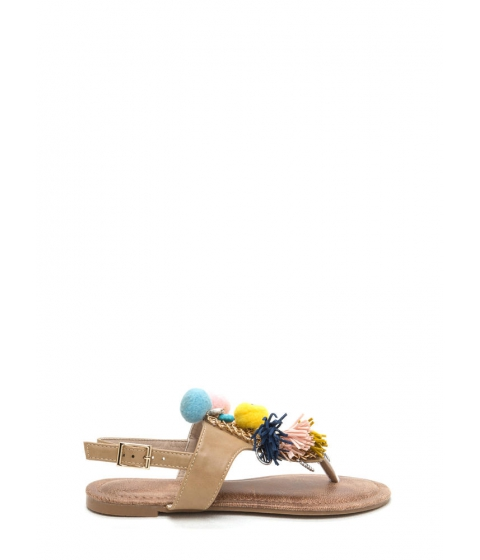 Incaltaminte Femei CheapChic By The Bay Tassel n Pom-pom Sandals Nude