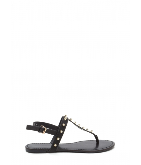 Incaltaminte Femei CheapChic Light A Sparkler Studded T-strap Sandals Black