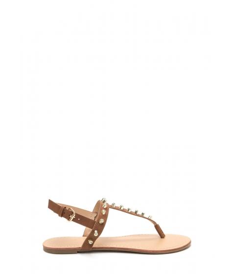 Incaltaminte Femei CheapChic Light A Sparkler Studded T-strap Sandals Cognac